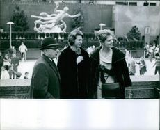 Princess Brigitta and Desiree pictured on the Rockefeller Center with J. Roscoe Miller.