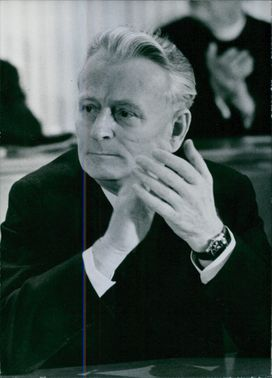 Portrait of Antonin Josef Novotny, siting in the assembly.