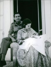 Princess Alexia with Carlos Morales Quintana while carrying their baby, 1965.