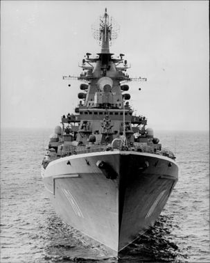 The Russian ship Kirov during a visit to the North Sea.