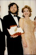 Film director Emir Kusturica together with actress Sharon Stone during the Cannes Film Festival