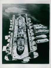 High-angle view of a floating dry dock.