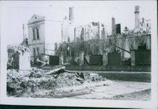 A photo of a hospital destruction in Baltic during 1944 war.