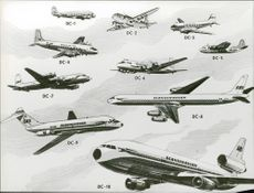 Illustration of different aircraft types. DC-1, DC-2, DC-3, DC-4, DC-5, DC-6, DC-7, DC-8, DC-9 and DC-10