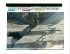 The 1994 Northridge earthquake USA:a tractor trailer a camper and a car lie stranded.
