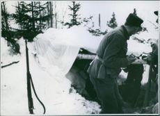 A Norwegian machine-gunner in the mountains north of Steinkjer. 1940
