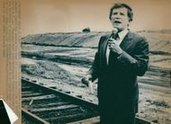 Colorado Senator Gary Hart visits a dump for toxic waste in Mount Holly