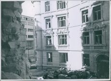 War damages 1943 The German bombing damages the Victoria Terrasse in Oslo.