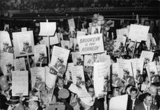 Colorful posters in favor of Robert F. Kennedy to run for the U.S. Senate are seen at the New York State Democratic Convention.