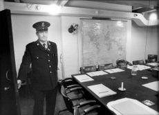 """""""War Cabinet Room"""", now a museum in London. The cartel in the underground bunker where Churchill's war cafeteria met."""